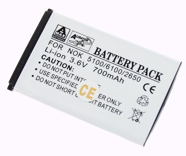 Batéria Nokia 1100, 1101, 1110, 1600, 2300, 2600, 3100, 3120, 3650, 6030, 6230, 6230i, 6600, 6630, 6670, 6681, 6820, 6822, E50 - 850 mAh Li-Ion