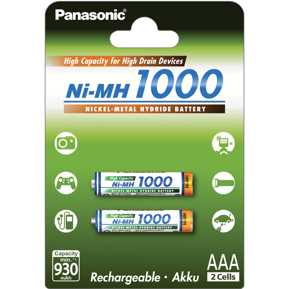 Nabíjacie batérie Panasonic AAA (2ks) mikrotužkové, 1,2 V - 1000 mAh - Ni-MH